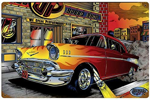 Tin Sign Vintage Chic Art Decoration Poster Hot Rod Drag Race Muscle Car for Store Bar Home Cafe Farm Garage or Club 12' X 8'