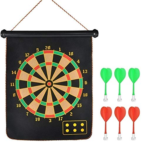 SKYFUN (LABEL) Foldable Large 15 Inch Double Sided Magnetic Dartboard Game for Kids Adults with 6 Non Pointed Darts-Black, White Color