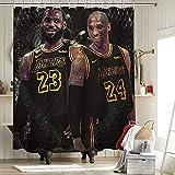 2020 FMVP Lebron James 23Rd Kobe Shower Curtain Set Bathroom Decor Los Angeles Lakers Championship King Crown Art Sports Player Poster 54x62 Inch