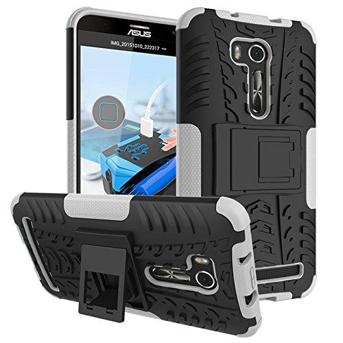 PAIPAIGUAN ASUS Zenfone Go ZB551KL(5.5 Zoll) hülle(Silikon Series) TPU + PC 2-in-1-Double-Layer-idealer Schutz,Stoßfest Handyhülle Drop Resistance Handys Schutz Hülle mit Ständer für-Weiß
