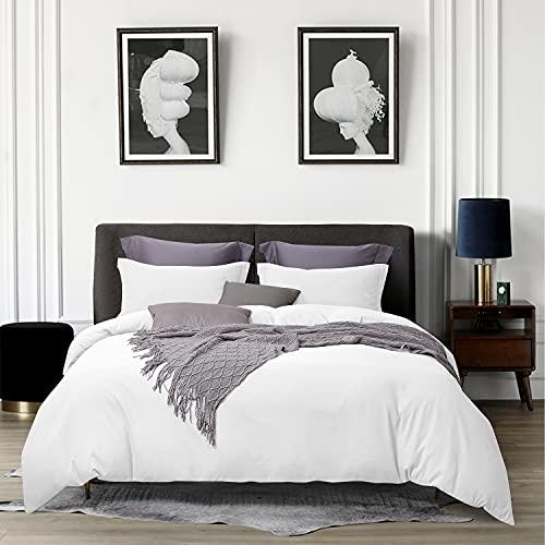 "BEDELITE Queen Duvet Cover, White Duvet Cover Full - Soft Comforter Cover with Zipper Closure, 3 Pieces Quilt Cover Set (1 Duvet Cover 90""x90""+ 2 Pillow Shams)"