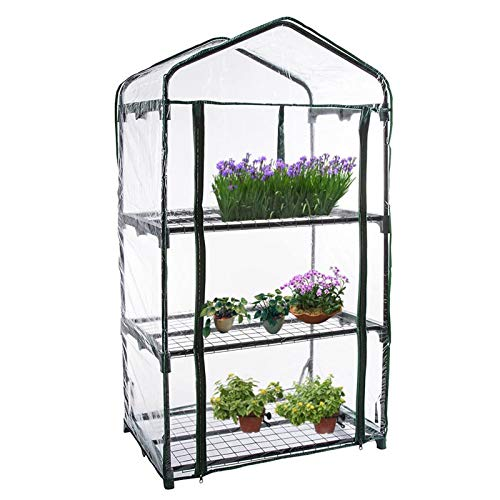 ndoor and outdoor mini greenhouses, Multi-layer metal shelf small garden planting greenhouse, Portable tent with waterproof and cold-proof transparent cover, For planting seedlings or flowers
