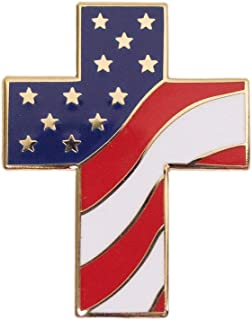 Mandujour Authentic Religious American Flag Lapel Pin Patriotic Cross Proudly Designed in USA Free Luxurious Gift Box
