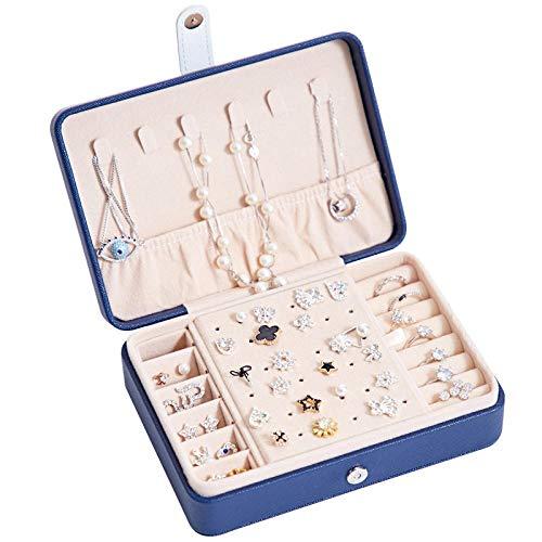 JLCK Mini Organizador de Caja de joyería, Cuero sintético pequeño Viaje Caja de Almacenamiento de joyería Anillos Pendientes Collar Pulseras joyería Caja de Regalo para niñas Mujeres-Azul Marino
