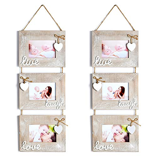 Yaetm Live Laugh Love Collage Hanging Picture Frame 4x6, 2 Pack, Solid Wood 3 Photo Frames Set, Wall Mount Verticval...