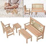 Table et chaises Tabouret Ensemble de Meubles Miniatures Meubles Miniatures de Maison de poupée inodore, Meubles de Maison de poupée en Bois, Filles garçons Enfants pour Enfants