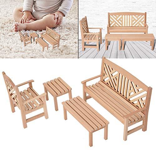 Ongoion Tavolo e sedie Sgabello Set di mobili in Miniatura Casa delle Bambole inodore Mobili in Miniatura, Mobili in Legno per casa delle Bambole, Rag