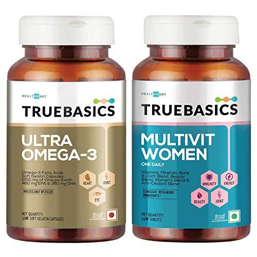 Truebasics Multivitamin Women + Truebasics Omega 3 Fish Oil, 30 Tablets/Pack