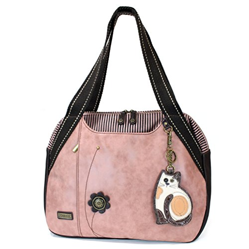 Dusty Rose Color Large Shoulder Bags from Chala. Fun, roomy, and functional! Material: High Quality Vegan leather- Fabricated flower & metal button details. Top zip closure. Has two side pockets for extra storage with snap closures Comes with a detac...