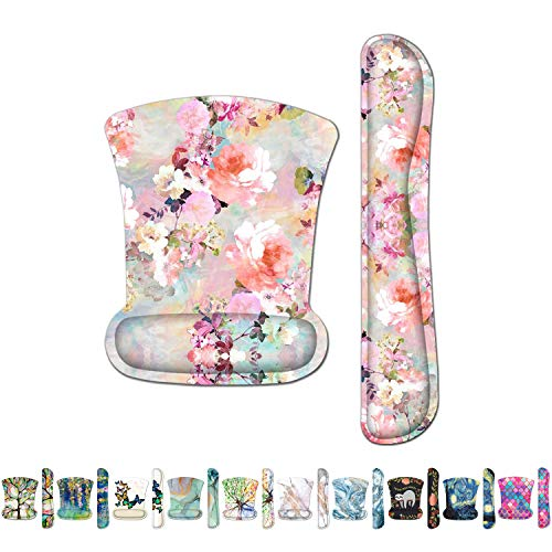 Britimes Ergonomic Keyboard Wrist Rest Mouse Pad with Wrist Support Pink Flowers Peonies Floral Non-Slip Rubber Base Mousepad for Home Office Gaming Working Computers Laptop Easy Typing & Pain Relief