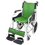 ケアテックジャパン 介助式車椅子 ハピネスコンパクト -介助式- CA-13SU (グリーン(緑色))