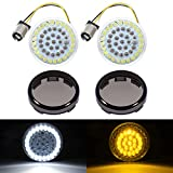 PBYMT Front Turn Signal Light LED Bulb 1157 Amber White Running Light 2 Inches Bullet Style Smoke Lens Cover Kit Compatible for Harley Touring Road King Street Electra Glide 1997-2021