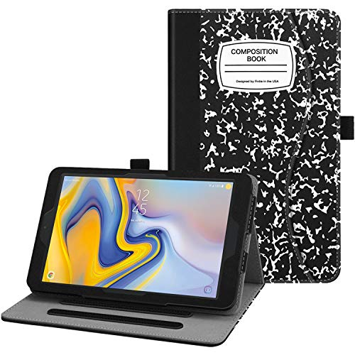 Fintie Case for Samsung Galaxy Tab A 8.0 2018 Model SM-T387 Verizon/Sprint/T-Mobile/AT&T, Multi-Angle Viewing Stand Cover with Pocket, Composition Book Black