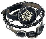 Accutime Watch Reloj Sobrenatural analógico Anti posesión símbolo análogo con Brazo Conjunto de Joyas