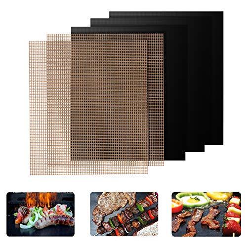 Grillmatten, 5er Set BBQ Grillmatte 100% Antihaft Wiederverwendbar Grillmatten Backmatten FDA Zugelassen PFOA Frei Grill Mat für Holzkohle, Gasgrill & Backofen 40*33cm (3er Schwarz + 2er Braun)