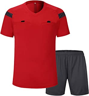 Camiseta de árbitro de manga corta para hombre, Informal, Hombre, color rojo, tamaño medium