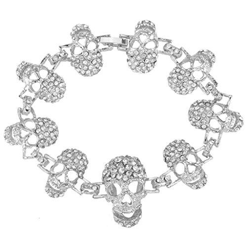 EVER FAITH Silver-Tone Austrian Crystal Halloween Gothic 9 Skulls Hand Chain Woman Bracelet Clear