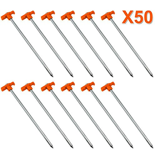 Yaheetech 50 Heavy Duty Metal Tent Pegs/Stakes Aluminium Hard Ground Pegs Lightweight Rock/Camping Pegs Alloy Tent Accessories,25cm x 7mm/9.8 x 0.3 Inch(L&Dia.)