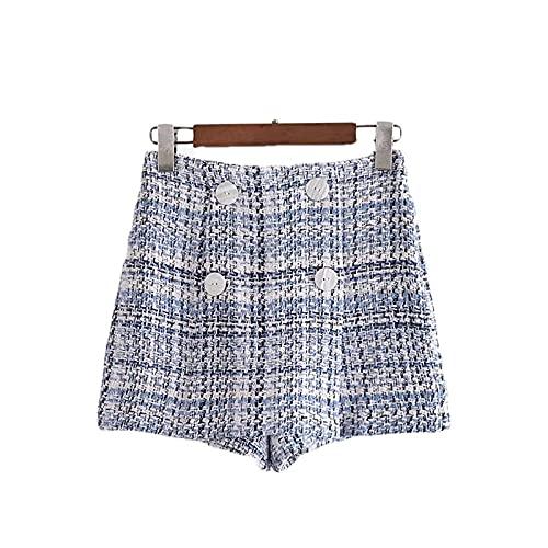 ERTYUIO Short Skirt Plaid High Waisted Shorts Female Skirt Shorts Women Vintage Button Short Pants-A_M