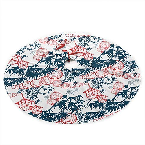 Hicyyu China Ink Paper Lights Traditional Christmas Tree Skirt Santa & Reindeer Tree Ornaments Tree Skirt for Christmas Decoration,Size:48 inches