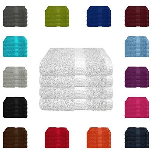 4 tlg. Handtuch-Set in vielen Farben - 4 Handtücher 50x100 cm - Farbe weiss
