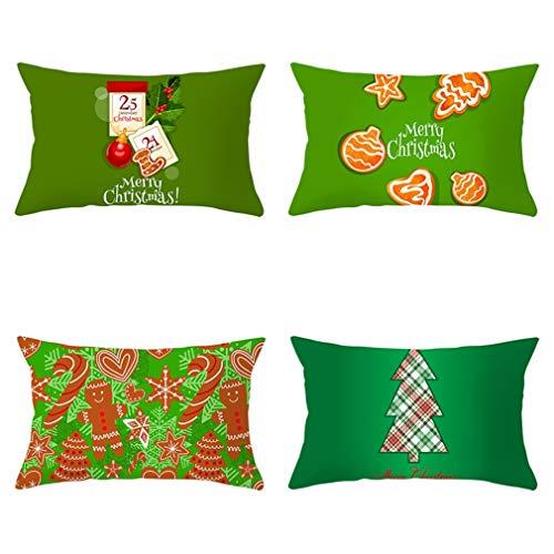 Nunubee - Juego De 4 Fundas De Almohada Decorativas con Diseño De Papá Noel, Fundas De Almohada para Sofá Y Decoración De Oficina (Color De La Imagen, 50 X 30 Cm)