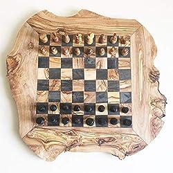 Schachspiel rustikal,Schachbrett Gr. L inkl. Schachfiguren, Olivenholz, Handarbeit