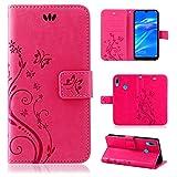 betterfon | Flower Hülle Handytasche Schutzhülle Blumen Klapptasche Handyhülle Handy Schale für Huawei Y7 2019 Pink