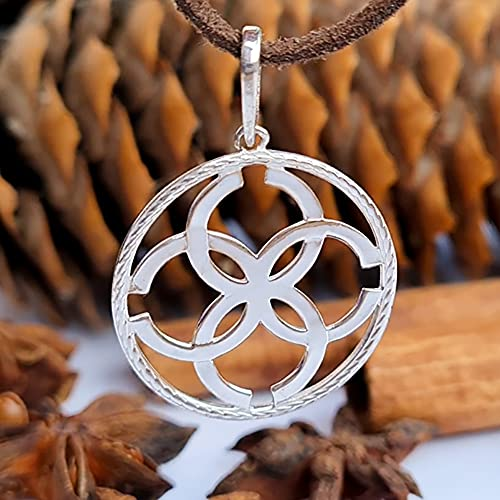 Pagan Wiccan Love Amulet Pendant Necklace Sterling Silver 925. Esoteric Talisman of Strong Marriage. Ethnic Folk Norse Jewelry for Women