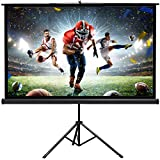 New Portable 80' Projector 16:9 Projection Screen Tripod Pull-up Matte Black TS
