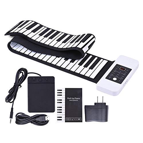 Ning Night 88-Key Folding Umwelt Silikon Hand Gerollt Elektronisches Klavier Tragbare Hand Gerollt Klavier Mit Akkord Version Von Sustain Piano Artikel Gewicht 1251G / 2.8Lb Verdickte,Weiß
