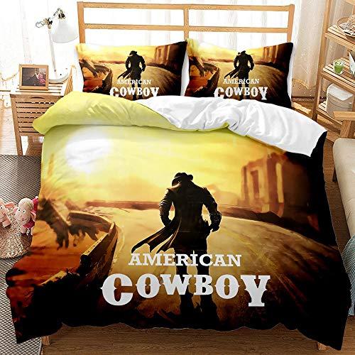 Påslakanset gul sol cowboy tryck sängkläder set med dragkedja stängning 3 delar påslakanset med kuddfodral ultramjuk allergivänlig lättskött mikrofiber