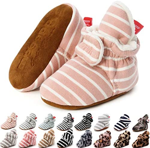 KIDSUN Infant Baby Boy Girl Cozy Fleece Bootie Newborn Stay On Slipper Winter Warm Gripper Non product image