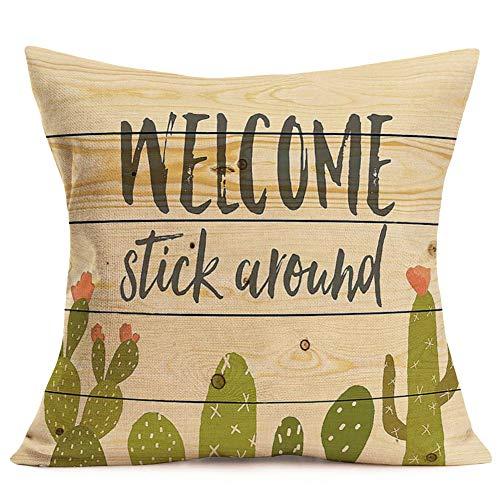 Asamour Welcome Series - Funda de cojín Decorativa de Lino y algodón con Citas, 45,7 x 45,7 cm, para decoración del hogar, sofá, Dormitorio, etc.