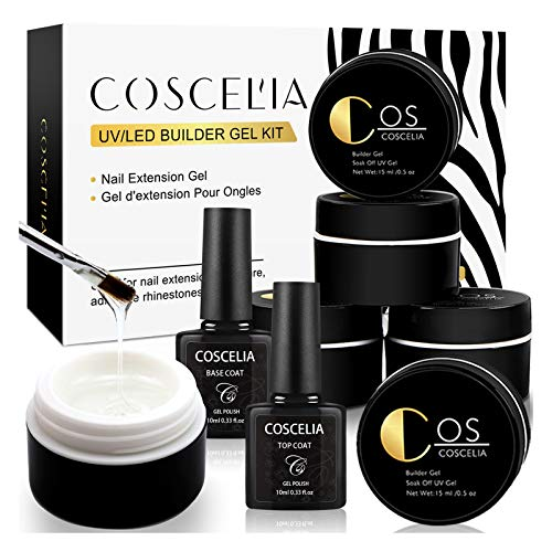 COSCELIA Clear Builder Gel for Nails Extension UV Gel Nail Polish Set with Base and Top Coat Nail Brush for Nail Strengthen Nail Art Supplies Manicure Kit