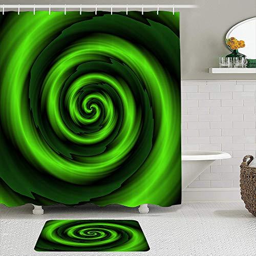 PbbrTK Stoff Duschvorhang und Matten Set,Grüne abstrakte Spiralen Artsy Print,wasserdichte Badvorhänge mit 12 Haken,utschfeste Teppiche