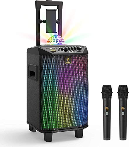 Wireless Karaoke Machine, TONOR Bluetooth PA System Portable Singing Speaker with Dual Wireless Microphones, Disco Ball for Home Karaoke, Party, Class and Church(K20)