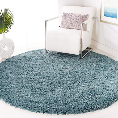 """Safavieh California Premium Shag Collection SG151-6060 Light Blue Round Area Rug (6'7"""" Diameter)"""