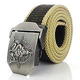 Cinturón,Los Hombres De Color Marrón Oscuro Cinturón De Lona Cráneo Metal Serpiente Hebilla Cinturon Militar ,Elegante Y Casual, Transpirable Y Duradera Correas Tácticas Del Ejército Para Los Ho
