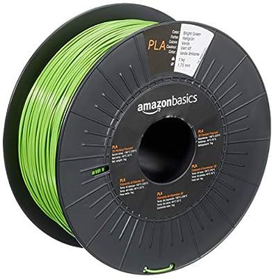 AmazonBasics PLA 3D Printer Filament, 1.75mm, Bright Green, 1 kg Spool