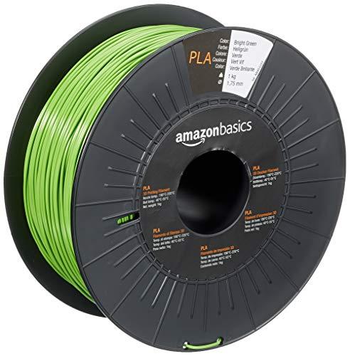 Amazon Basics - Filamento per stampanti 3D, in polilattato (PLA), 1,75mm, verde brillante, 1 kg per bobina