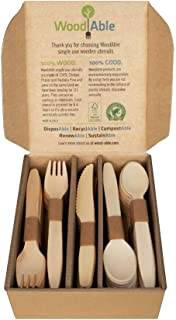 WoodAble - Disposable Wooden Forks, Spoons, Knives Set | Alternative to Plastic Cutlery - Eco Biodegradable Replacements (100 Count - 40 Forks, 40 Spoons, 20 Knives)