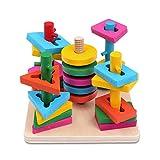 Schramm® Kinder Holz Steckplatte Steckspiel Geschicklichkeitsspiel 21- teilig für Kinder