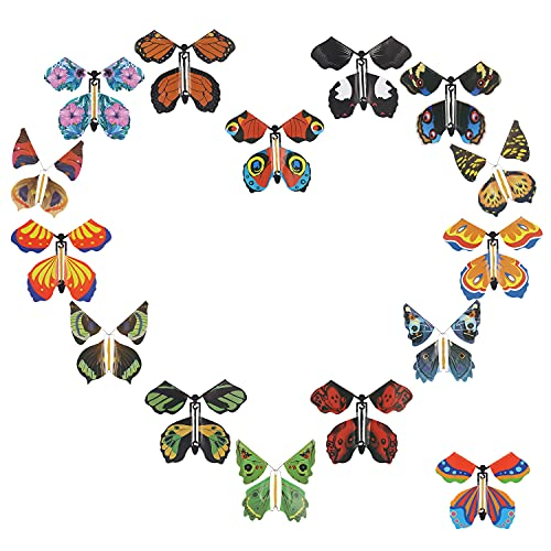 Moocci 15 Pieces Magic Fairy Flying Butterfly Card Rubber Band Powered Wind up Butterfly Toy Colorful Flying Paper Butterflies for Party Playing Birthday Anniversary Wedding Christmas Surprise Gift
