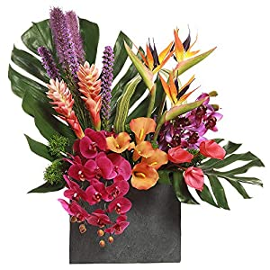 34″ Hx31 W Orchid, Hawaiian Ginger & Bird of Paradise Silk Flower Arrangement w/Planter -Purple/Orange