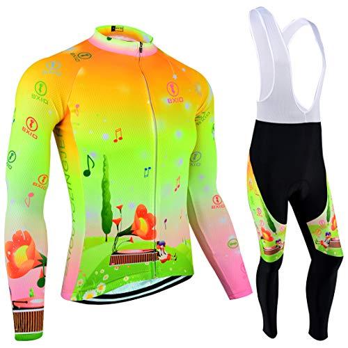 BXIO Maglia da Ciclismo da Uomo, Maglia da Ciclismo Invernale, Maglia da Ciclismo, Manica Lunga e Pettorina (Summer Type(124 Long Sleeve And Bib Tight,Fluo Green), 2XL)