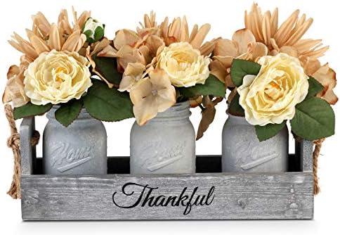 GBtroo Mason Jar Centerpiece Handmade Table Decoration for Farmhouse Kitchen and Shabby Chic product image