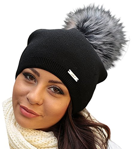 Damen Frauen Strickmütze Beanie mit Fellbommel Herbst Winter Bommelmütze mit großem Kunstfellbommel (ZI) (Schwarz/Grau Bommel)