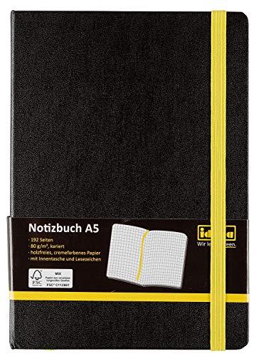 Idena 10698 - Notizbuch FSC-Mix, A5, kariert, Papier Cremefarben, 96 Blatt, 80 g/m², Hardcover in Schwarz, 1 Stück