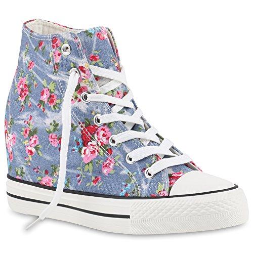 stiefelparadies Damen Sneakers High Top Keilabsatz Blumen Sneaker-Wedges Schuhe 139851 Hellblau 39 Flandell
